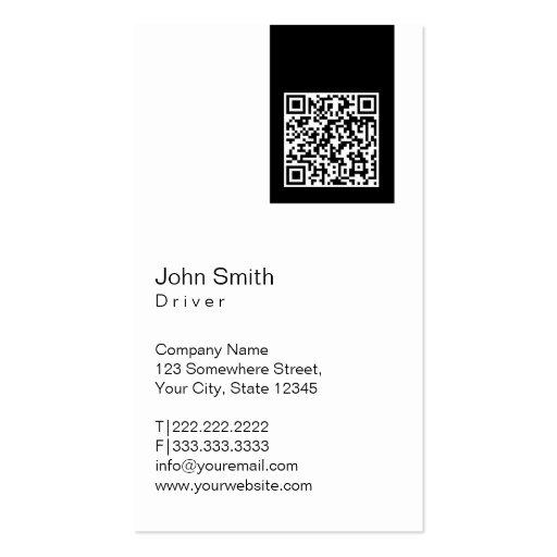 Cartão de visita preto do motorista do código da e