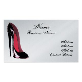 Cartão de visita preto do na moda dos calçados do