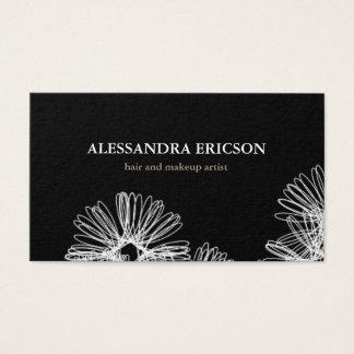 Cartão de visita preto e branco da agitação floral