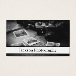 Cartão de visita preto e branco da fotografia da