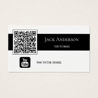Cartão de visita preto e branco de Vlogger do