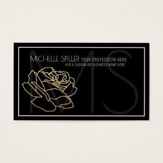 cartão de visita preto floral para mulheres