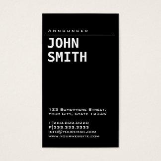 Cartão de visita preto liso simples do anunciador
