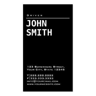 Cartão de visita preto liso simples do motorista