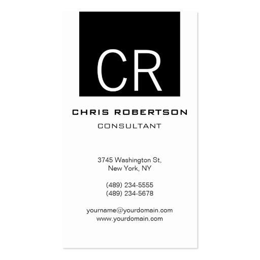 Cartão de visita preto liso vertical do branco da