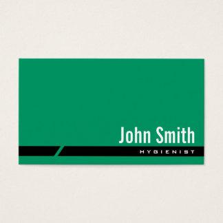 Cartão de visita preto verde liso do higienista da