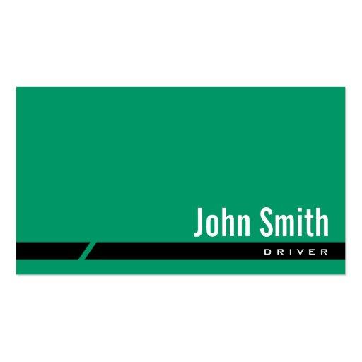Cartão de visita preto verde liso do motorista da