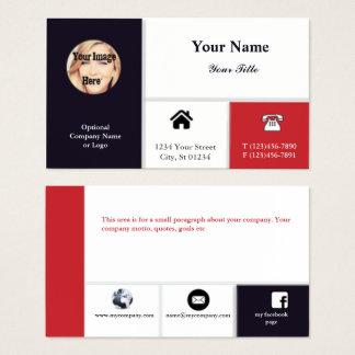 Cartão de visita profissional com ícones - marinho