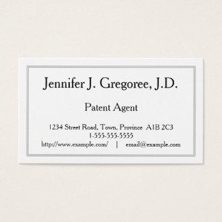 Cartão de visita profissional do agente de patente