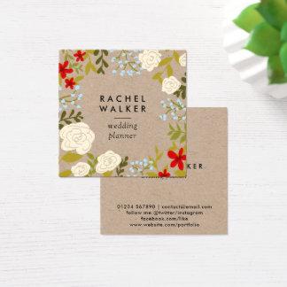 Cartão de visita quadrado floral moderno do