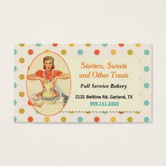 Cartão de visita retro colorido da padaria das