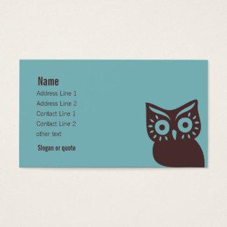 Cartão de visita retro da coruja