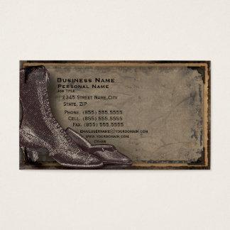 Cartão de visita retro da forma dos calçados das