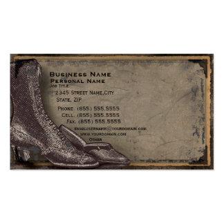 Cartão de visita retro da forma dos calçados das m