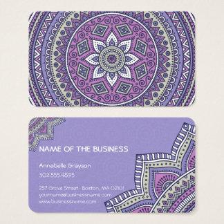 Cartão de visita roxo bonito da mandala