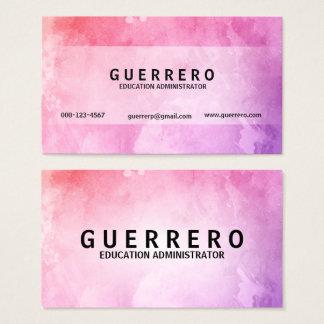 Cartão de visita roxo cor-de-rosa minimalista do