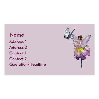 Cartão de visita roxo da fada da flor do KRW