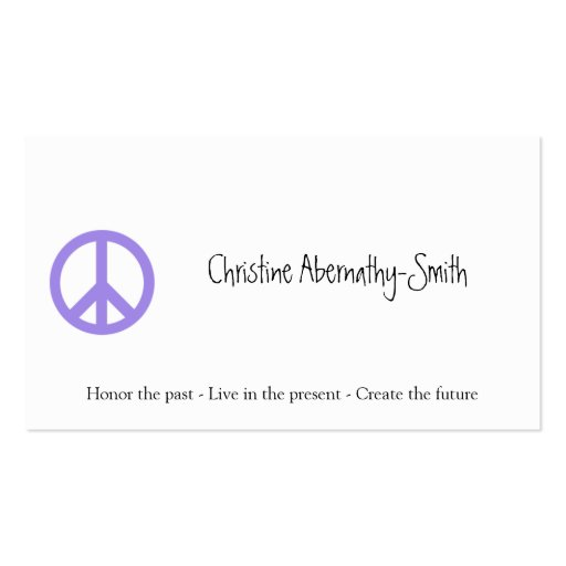 Cartão de visita roxo do símbolo de paz