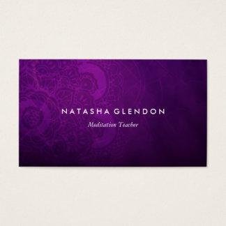 Cartão de visita roxo do zen da mandala da ameixa