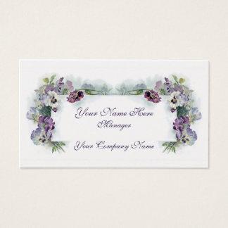 Cartão de visita roxo dos pansies do Victorian