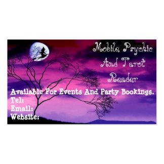 Cartão de visita roxo psíquico e de Tarot do leito