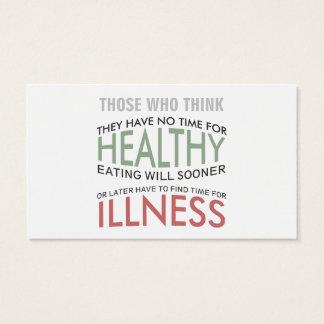 Cartão de visita saudável do design de texto das