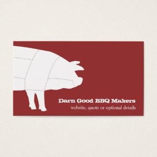Cartão de visita seccionado do vermelho do porco