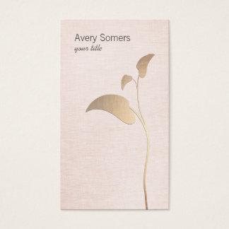 Cartão de visita simples de linho do rosa da folha