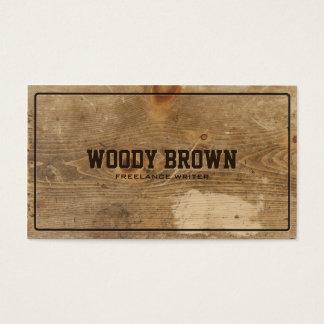 Cartão de visita simples de madeira do falso