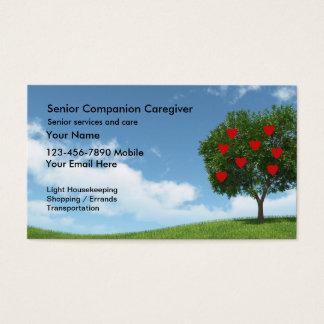 Cartão de visita superior do cuidador