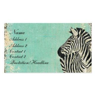 Cartão de visita/Tag azuis da zebra do vintage