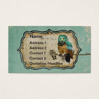 Cartão de visita/Tag cor-de-rosa da coruja de