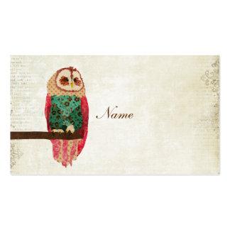 Cartão de visita/Tag da coruja do vintage de Rosa