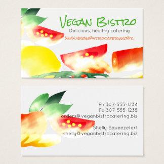 Cartão de visita vegetal cortado da restauração do