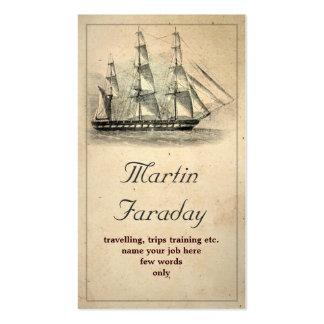 cartão de visita velho bonito do barco do navio do