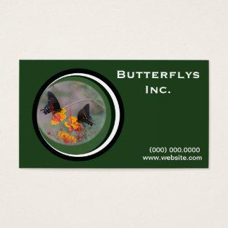 Cartão de visita verde da borboleta de monarca