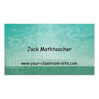 Cartão de visita verde das equações do professor