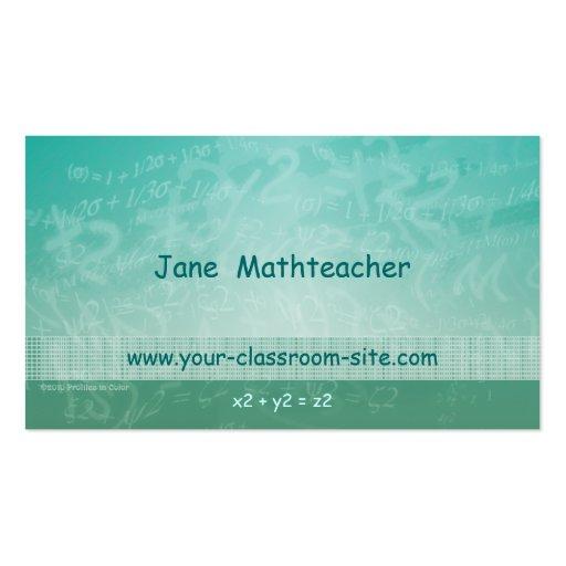 Cartão de visita verde das equações do professor d