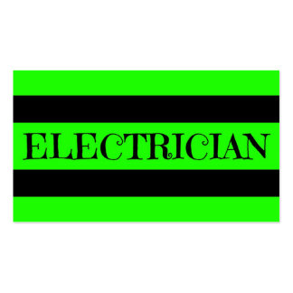 Cartão de visita verde de néon do eletricista