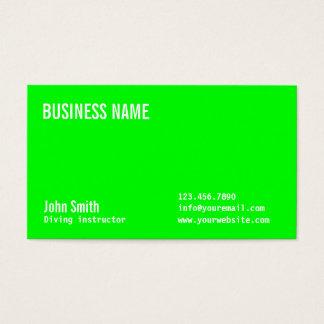 Cartão de visita verde de néon liso do mergulho