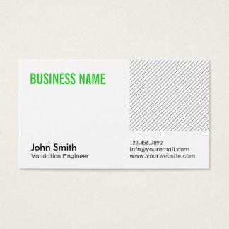 Cartão de visita verde do engenheiro da validação