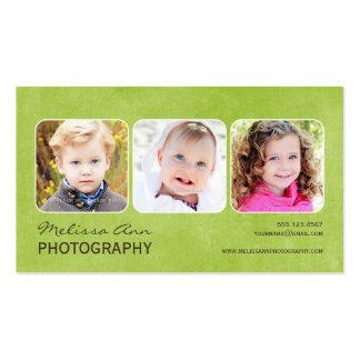 Cartão de visita verde do fotógrafo do retrato do