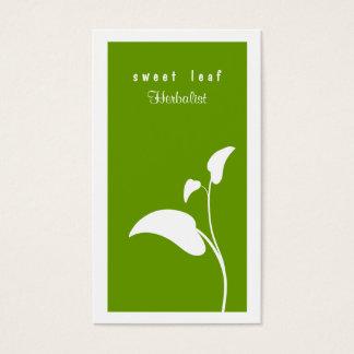 Cartão de visita verde do Herbalist da folha