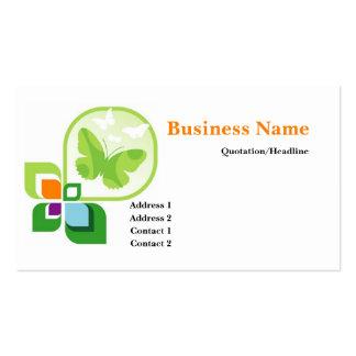 Cartão de visita verde do logotipo das borboletas