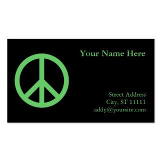 Cartão de visita verde do símbolo de paz