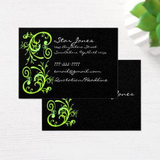 Cartão de visita verde e preto elegante do
