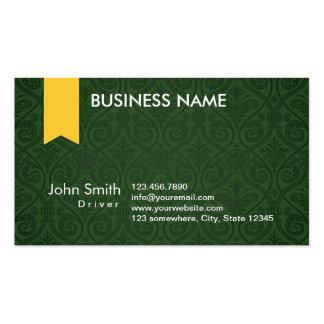 Cartão de visita verde elegante do motorista do da