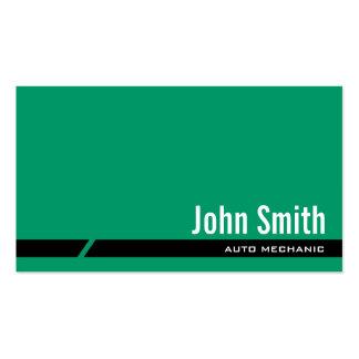 Cartão de visita verde liso do auto mecânico