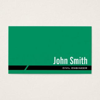 Cartão de visita verde liso do engenheiro civil