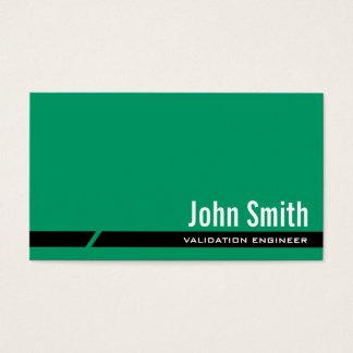 Cartão de visita verde liso do engenheiro da